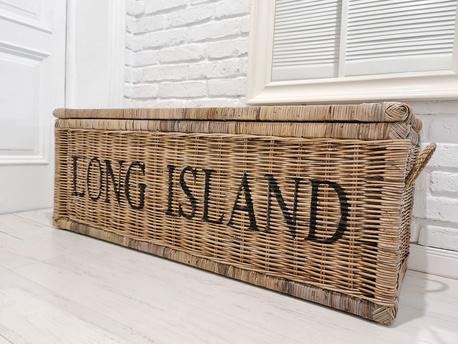 Rustykalna Duża Skrzynia Kufer Rattan Hampton Long Island (1)