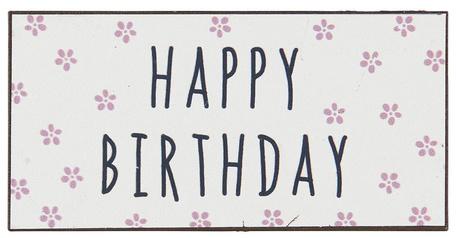 Metalowa Tabliczka Magnes Happy Birthday Róż IB Laursen (1)