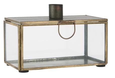 Świecznik Szklane Pudełko Z Dziurkowana Pokrywką Antyczne Złoto IB LAURSEN (1)