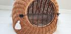 Transporter Wiklinowy naturalny z beżowymi chwostami Boho Dla Psa,Kota -Duży ( York, Maltańczyk, Shih Tzu, Maine Coon ) (2)