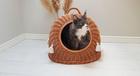 Budka Wiklinowa naturalna  z beżowymi chwostami Boho i beżowym kocykiem Dla Psa,Kota  ( York, Maltańczyk, Shih Tzu, Maine Coon ) (1)