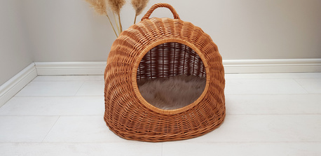 Budka Wiklinowa naturalna z beżowym kocykiem Dla Psa,Kota  ( York, Maltańczyk, Shih Tzu, Maine Coon ) (1)
