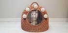Transporter Wiklinowy naturalny z beżowymi Pomponami Dla Psa,Kota -Duży ( York, Maltańczyk, Shih Tzu, Maine Coon ) (1)