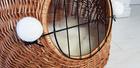 Transporter Wiklinowy naturalny z białymi pomponami Dla Psa,Kota -Duży ( York, Maltańczyk, Shih Tzu, Maine Coon ) (4)