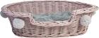 Legowisko Wiklinowe różowe z szarymi pomponami Dla Psa,Kota  ( York, Maltańczyk, Shih Tzu, Maine Coon ) (1)