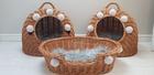 Transporter Wiklinowy naturalny z szarymi pomponami Dla Psa,Kota -Duży ( York, Maltańczyk, Shih Tzu, Maine Coon ) (8)