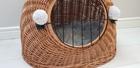 Transporter Wiklinowy naturalny z szarymi pomponami Dla Psa,Kota -Duży ( York, Maltańczyk, Shih Tzu, Maine Coon ) (3)