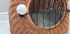 Transporter Wiklinowy naturalny z szarymi pomponami Dla Psa,Kota -Duży ( York, Maltańczyk, Shih Tzu, Maine Coon ) (4)