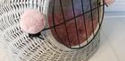 Transporter Wiklinowy w kolorze szarym z różowymi pomponami  Dla Psa,Kota -Duży ( York, Maltańczyk, Shih Tzu, Maine Coon ) (7)