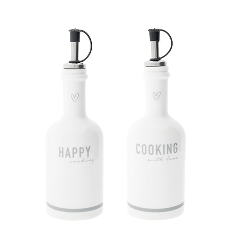 Butelki Ceramiczne Komplet Happy Cooking/Cookin With Love Grey Bastion Collections  (1)