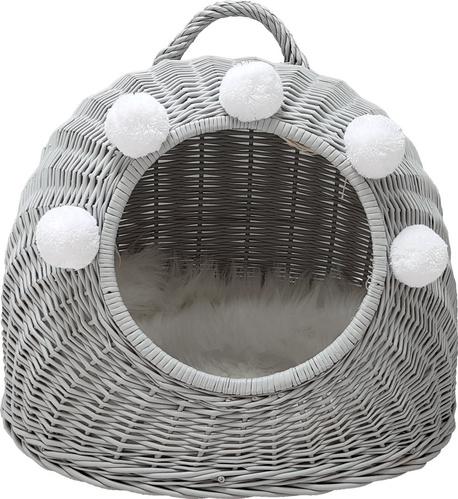 Budka Wiklinowa w kolorze szarym z białymi pomponami Dla Psa,Kota  ( York, Maltańczyk, Shih Tzu, Maine Coon ) (1)