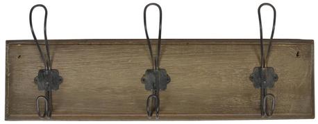 Wieszak Drewniany Brązowy z 3 Metalowymi Haczykami IB Laursen (1)