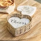 Drewniane Białe Podkładki Serca Rustic Rattan Coasters Riviera Maison  (2)
