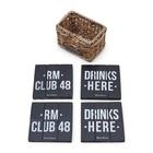 Drewniane Czarne Podkładki Rustic Rattan Club 48 Coasters Riviera Maison  (1)