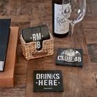 Drewniane Czarne Podkładki Rustic Rattan Club 48 Coasters Riviera Maison  (2)