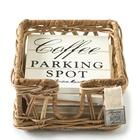Białe Podkładki Rustic Rattan Parking Spot Coasters Riviera Maison  (1)