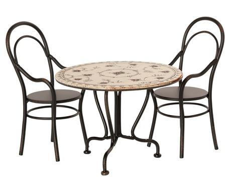 Romantyczny Metalowy Stolik Kawowy Vintage Micro Z 2 Krzesłami MAILEG  (1)